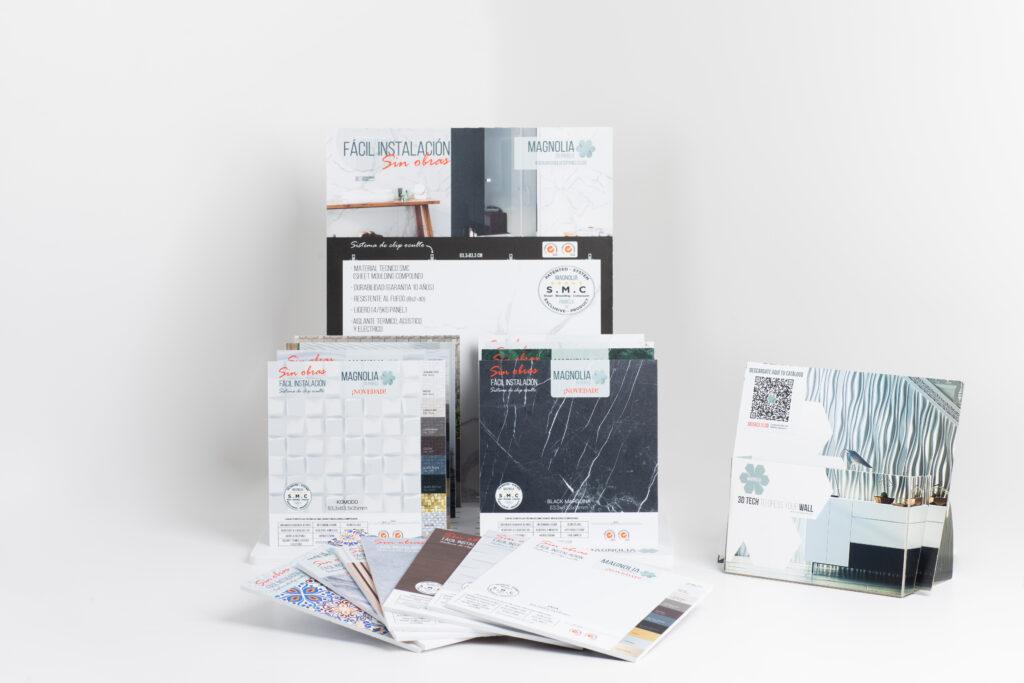 Kit de marketing para Magnolia 3D Panels, con diferentes elementos para promocionar sus productos