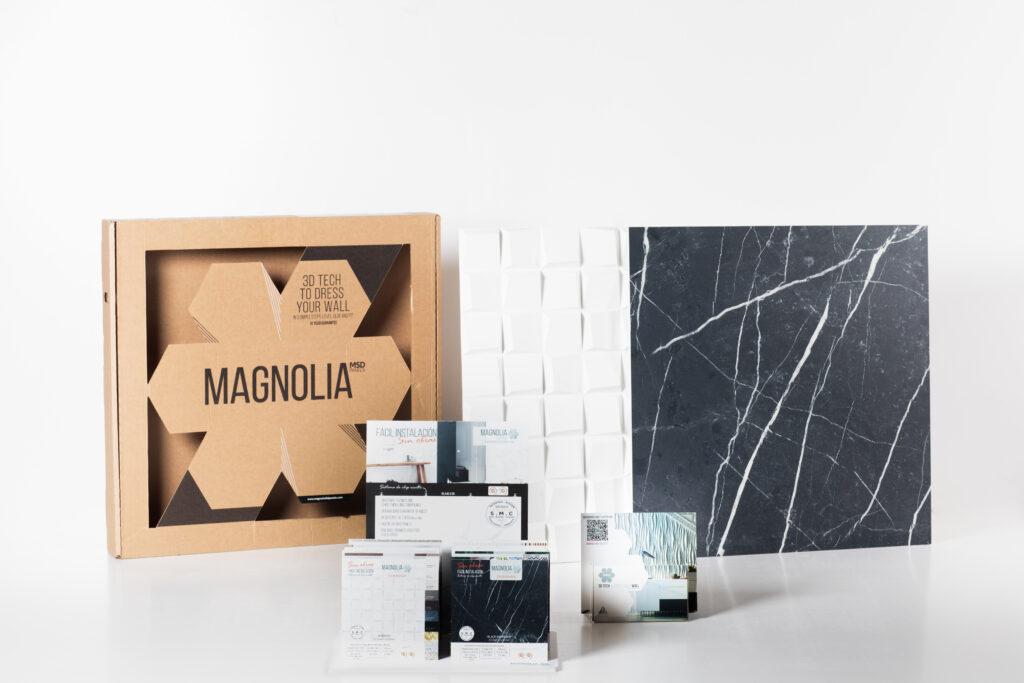 Kit de marketing para Magnolia 3D Panels, con diferentes elementos para la promoción de sus productos